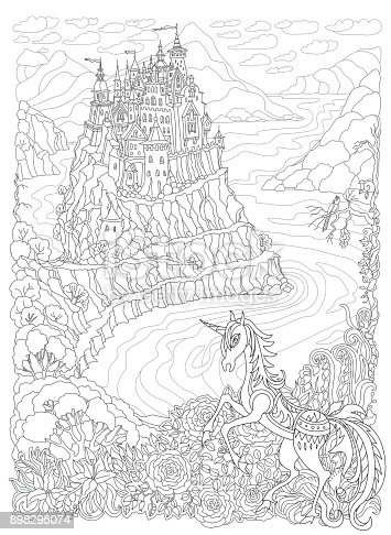 Fantasy landscape. Fairy tale Unicorn horse and castle on a hill in the mountains .Sea fjord bay, pixie forest, garden roses, lilies.T-shirt print. Adults and children Coloring book page. Black and White