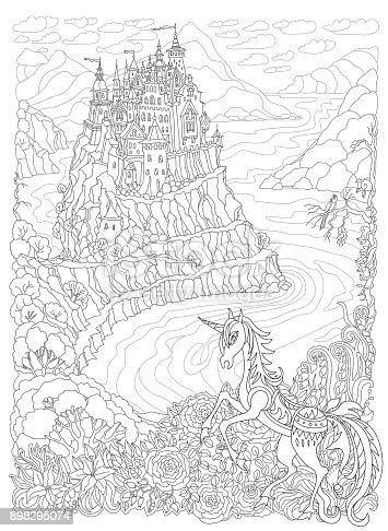 Fantasy Landscape Fairy Tale Unicorn Horse And Castle On A