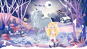 Fantasy landscape of magic forest with fairytale cottage,little princess,cuteunicorn and Santa Claus sleigh Reindeers flying over full moon in Christmas night,illustration cartoon Winter wonderland