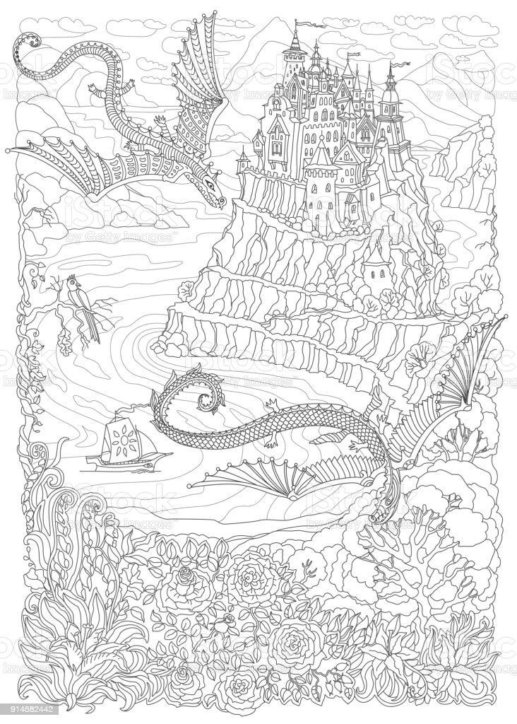Ilustración de Paisaje De Fantasía Sobre Un Fondo Beige Cuento De ...