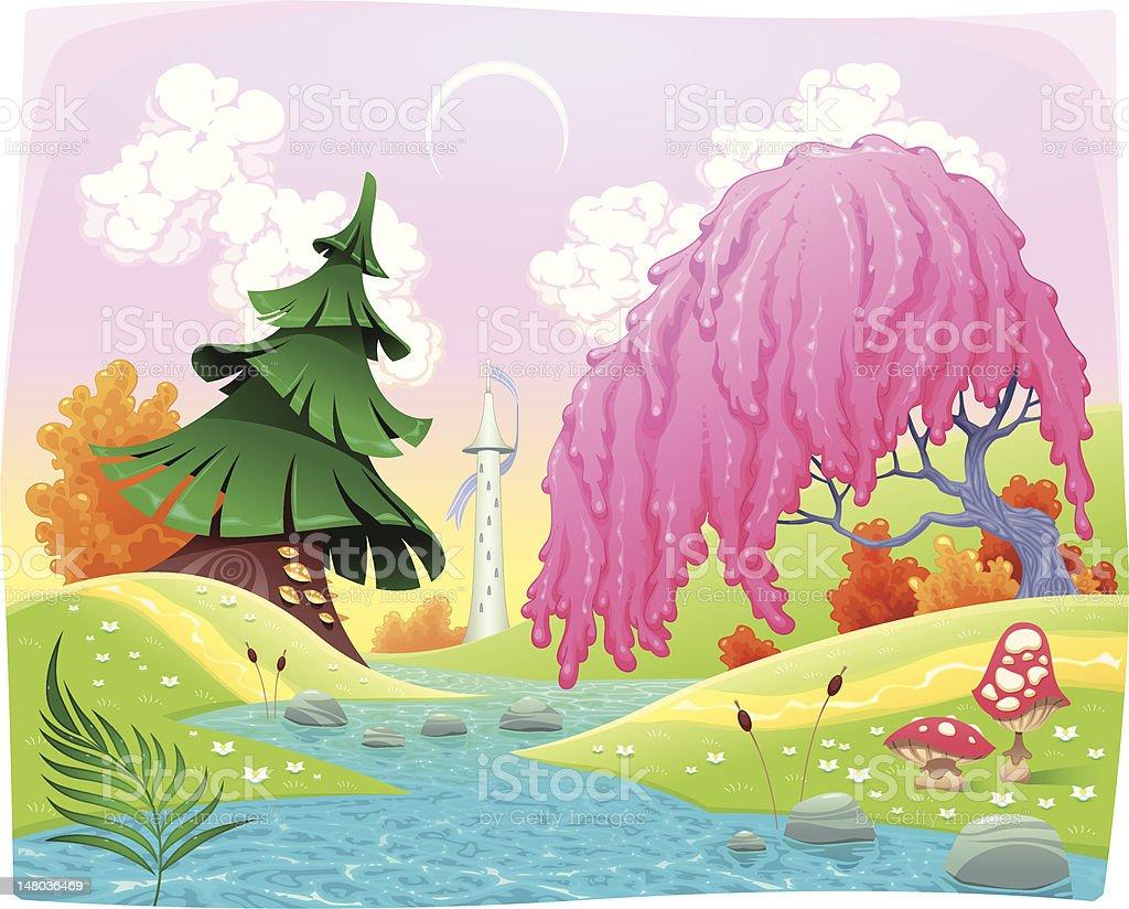 Fantasy landscape on the riverside. royalty-free stock vector art