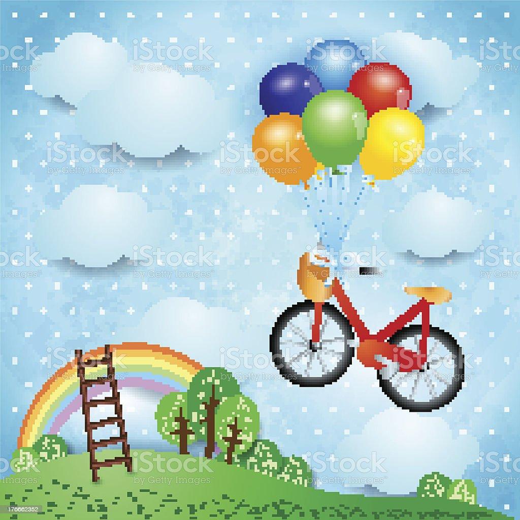 Fantasía paisaje con bicicleta ilustración de fantasía paisaje con bicicleta y más banco de imágenes de aire libre libre de derechos