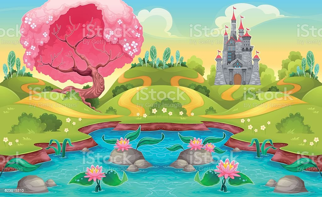 Fantasy landscape with castle in the countryside vector art illustration