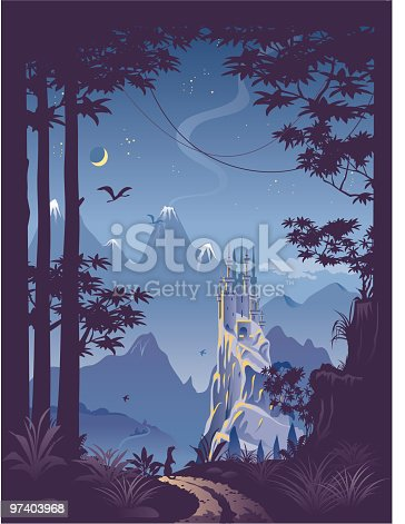 istock Fantasy landscape with castle on hill 97403968