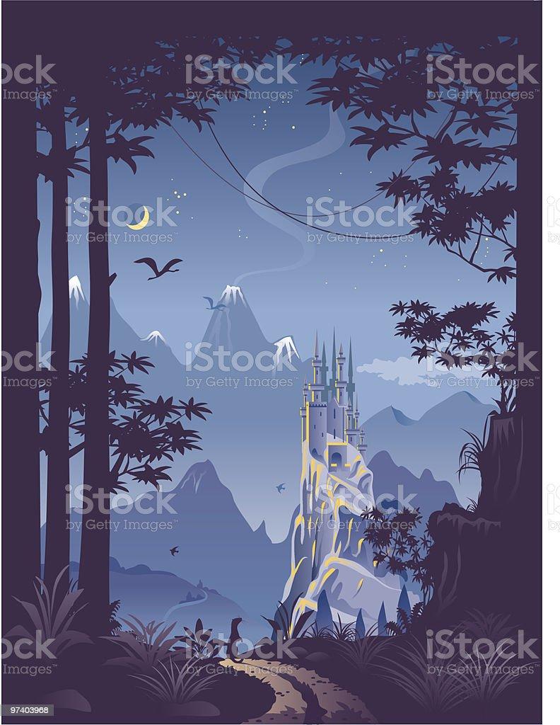 Fantasy landscape with castle on hill vector art illustration