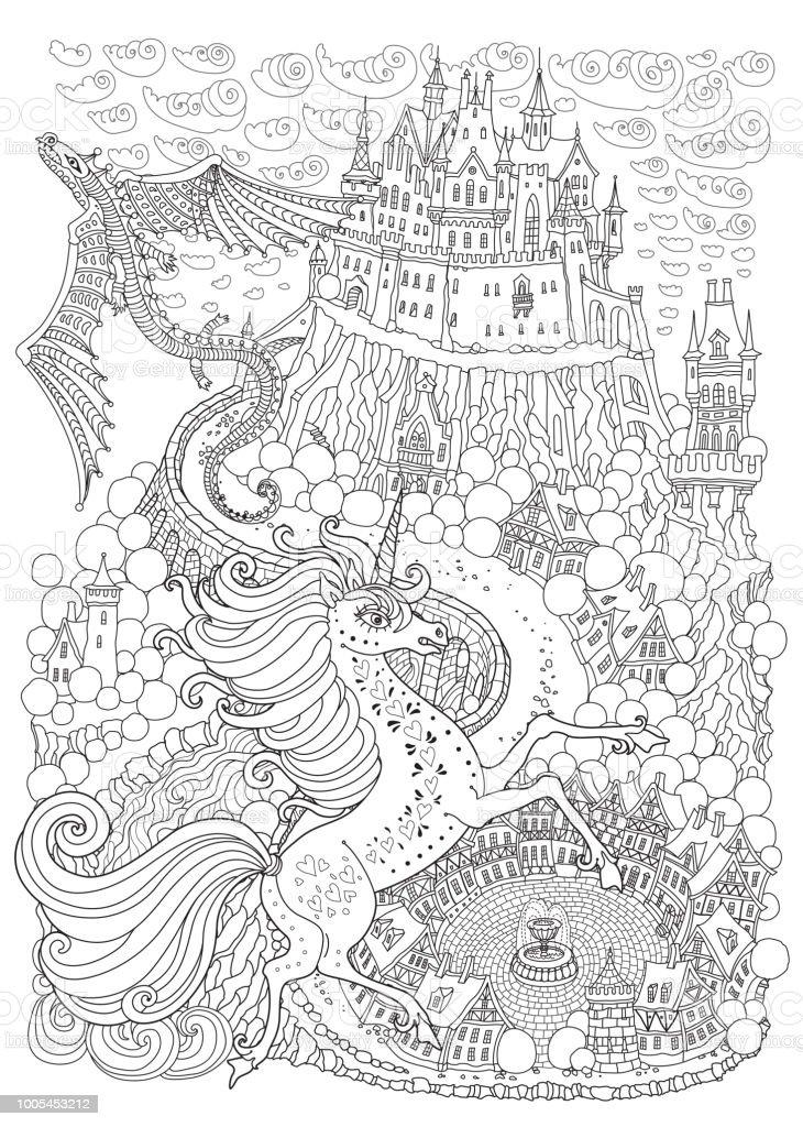 Ilustración de Paisaje De Fantasía Con El Dragón Y El Unicorne ...