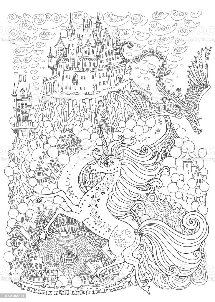 Fantasy Landscape With Dragon And Unicorne Fairy Tale