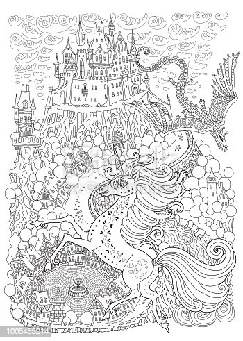 Fantasy landscape with dragon and unicorne. Fairy tale medieval castle on a hill. Round old street. T-shirt print. Album cover, postcard. Coloring book page for adults and children. Black and white page