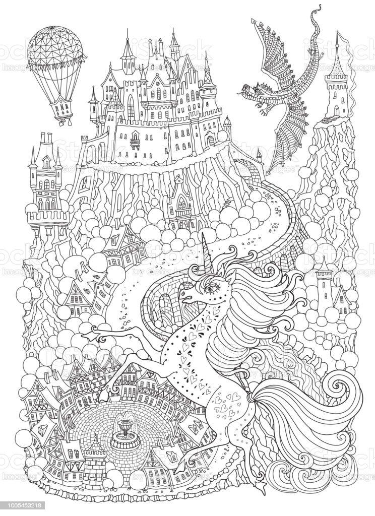 Fantezi Yatay Dragon Ve Unicorne Peri Masalı Bir Tepe üzerinde