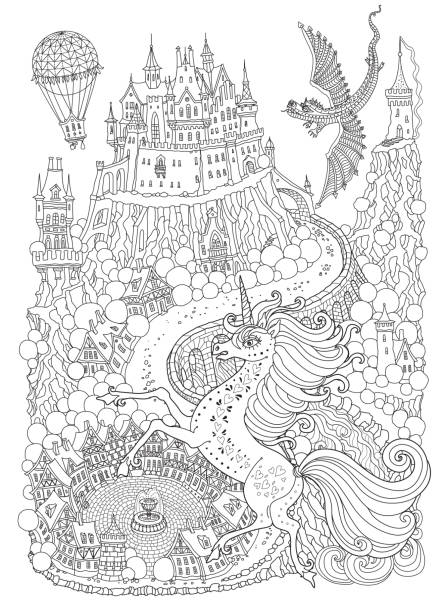 Fantasy Landscape With Dragon And Unicorne Fairy Tale Medieval Castle On A Hill Round