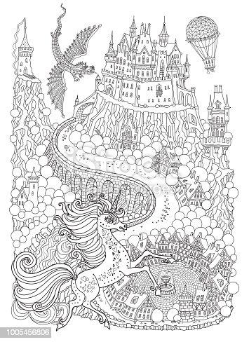fantasielandschaft mit drachen und unicorne märchen mittelalterliche burg auf einem hügel runde
