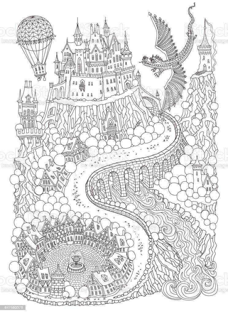 fantasie landschap met draak sprookje middeleeuws kasteel