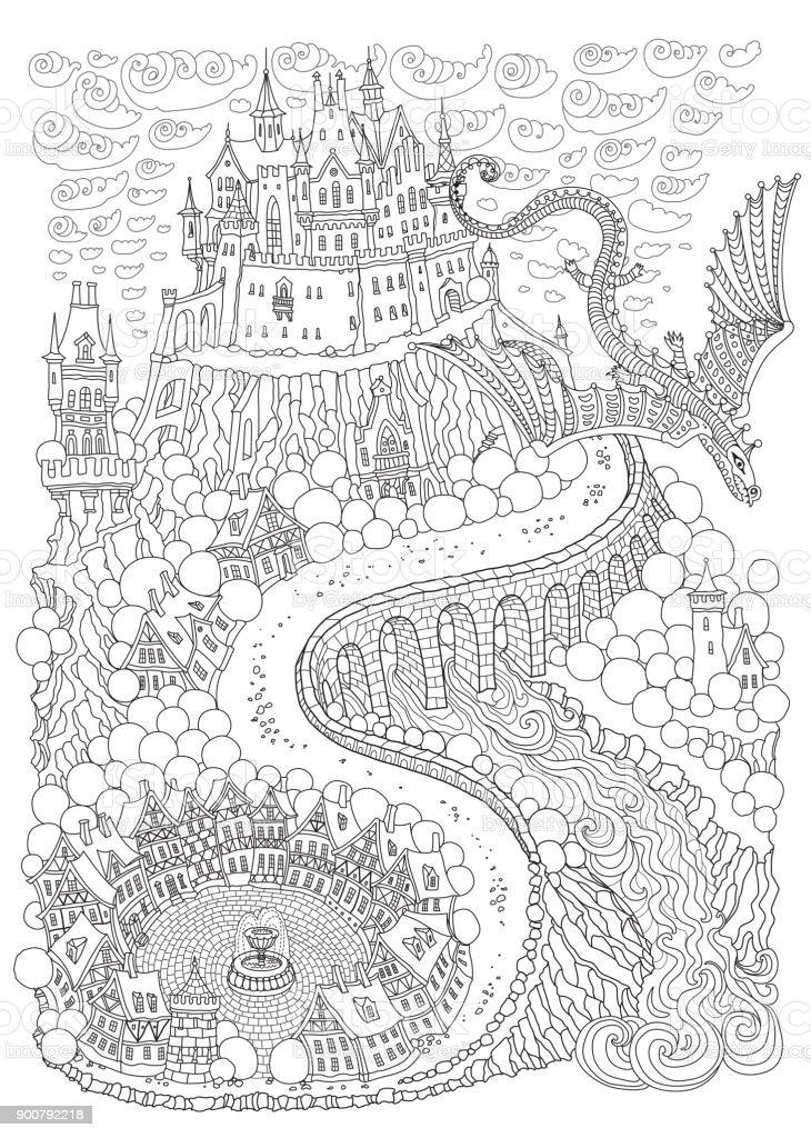 Kleurplaten Voor Volwassenen Landschap.Fantasie Landschap Met Draak Sprookje Middeleeuws Kasteel Op Een