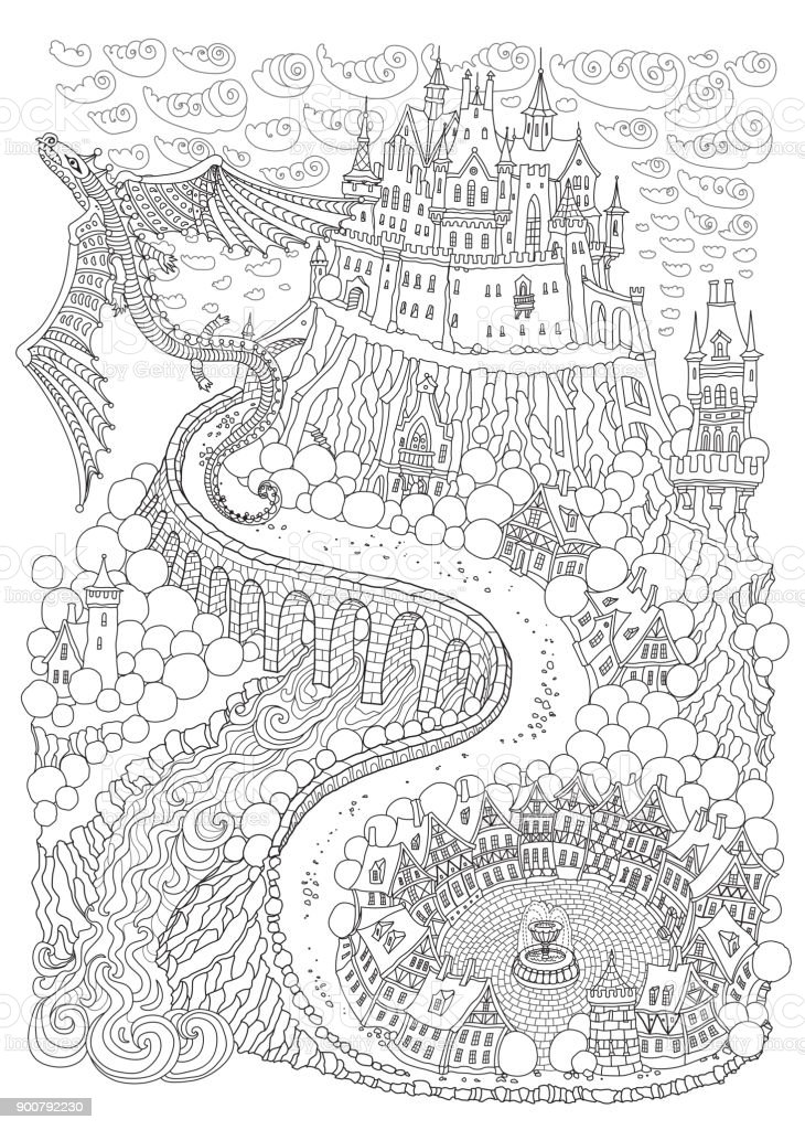 Fantasy landscape with dragon. Fairy tale medieval castle on a hill. Round old  street. T-shirt print. Album cover, invitation card. Coloring book page for adults and children. Black and white vertical page vector art illustration