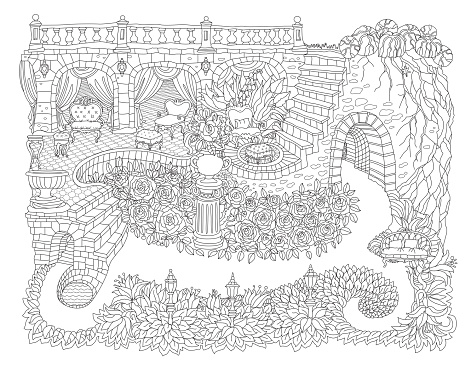 Fantasy landscape with fairy tale castle, palace, stone staircase, grotto, baroque furniture, garden roses, lilies. Coloring book page for adults and children.