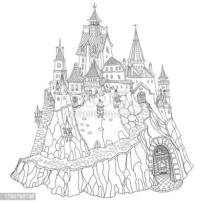Fantasy landscape with Fairy tale medieval castle, old houses, middle age buildings, with a fireplace in an underground cave. T-shirt print. Coloring book page for adults and children. Black and white