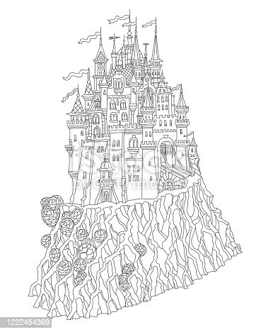 Fantasy landscape with Fairy tale medieval castle on a hill, old houses, middle age buildings. T-shirt print. Album cover, card. Coloring book page for adults and children. Black and white