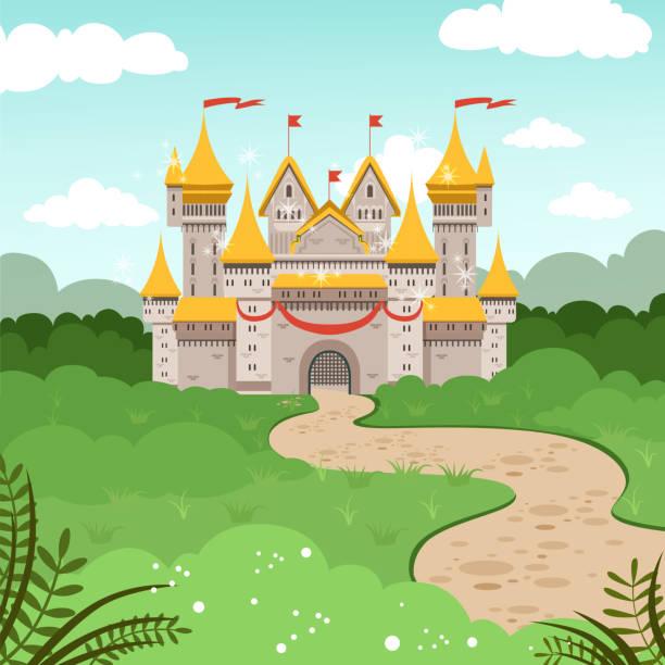 fantasielandschaft mit märchenschloss. vektor-illustration im cartoon-stil - steinpfade stock-grafiken, -clipart, -cartoons und -symbole