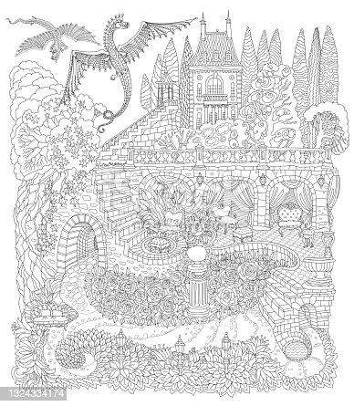 Fantasy landscape with flying dragons. Fairy tale castle on a hill, stone staircase, grotto, garden roses, lilies. Black and White T-shirt print. Coloring book page for adults.
