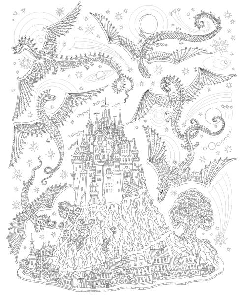 Fantasy landscape with flying dragons in the sky. Fairy tale medieval castle on a hill, old houses. T-shirt print. Album cover, card. Coloring book page for adults and children. Black and white vector art illustration