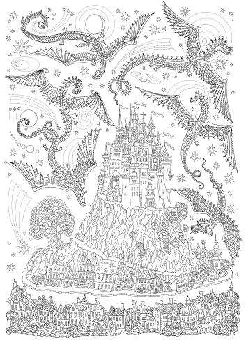 fantasielandschaft mit fliegenden drachen in den himmel märchen mittelalterliche burg auf einem