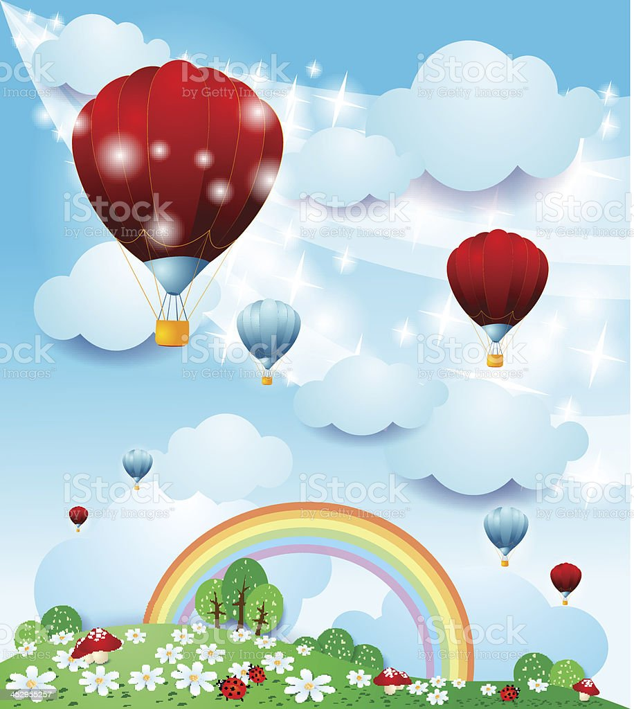 Fantasy landscape with hot air balloons royalty-free stock vector art