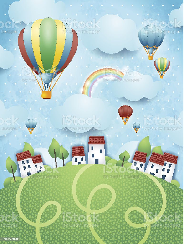 Fantasy landscape with hot air balloons royalty-free fantasy landscape with hot air balloons stock vector art & more images of backgrounds