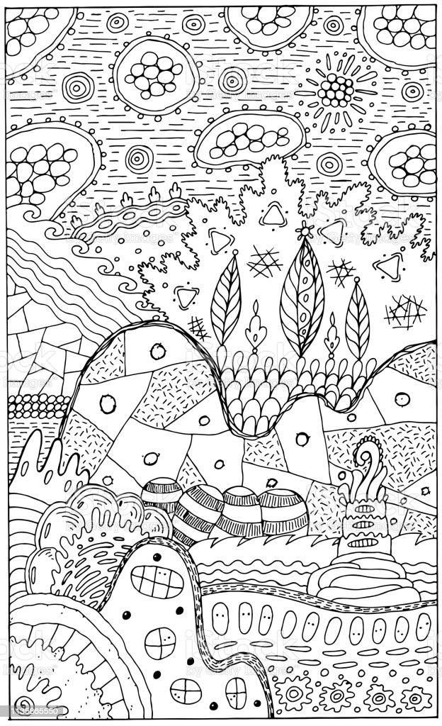 Ilustracion De Paisaje De Fantasia Con Casas Y Arboles