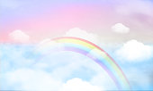 fantasy magical landscape rainbow on sky abstract big volume texture fluffy clouds shine close up view straight, cotton wool, pink purple pastel colors sun fabulous