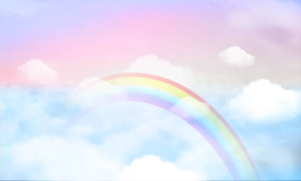 fantasy magical landscape rainbow on sky fantasy magical landscape rainbow on sky abstract big volume texture fluffy clouds shine close up view straight, cotton wool, pink purple pastel colors sun fabulous dreamlike stock illustrations