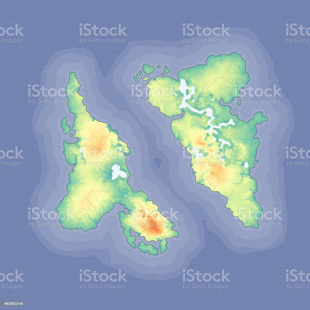 Diseño de mapa de fantasía - ilustración de arte vectorial