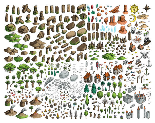 Fantasy map elements illustration, drawing, engraving, ink, line art, vector Illustration, what made by ink, then it was digitalized. fantasy stock illustrations
