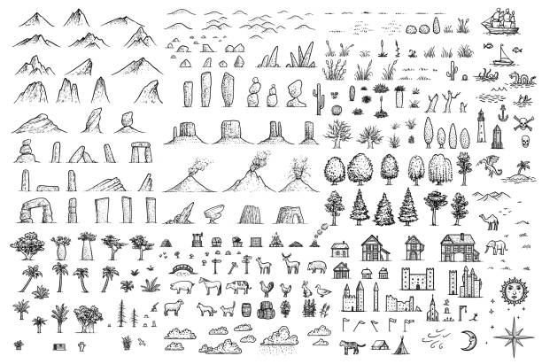 ilustrações de stock, clip art, desenhos animados e ícones de fantasy map elements illustration, drawing, engraving, ink, line art, vector - castle