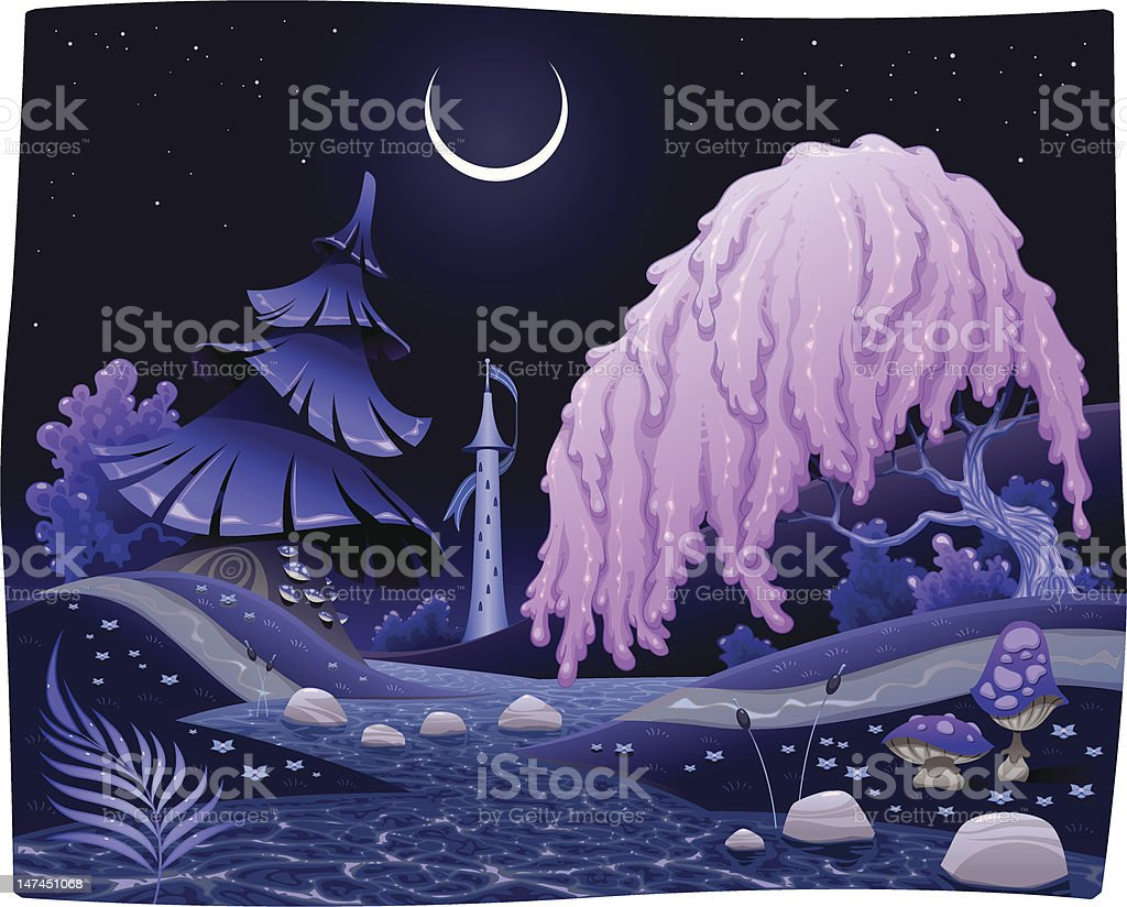 Fantasy nightly landscape on the riverside. royalty-free fantasy nightly landscape on the riverside stock vector art & more images of bush