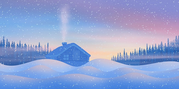 Fantasy on the theme of the winter landscape. Sunset light, small hut and forest. It snows.