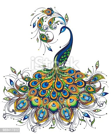 istock Fantasy peacock drawing on white background 933417312