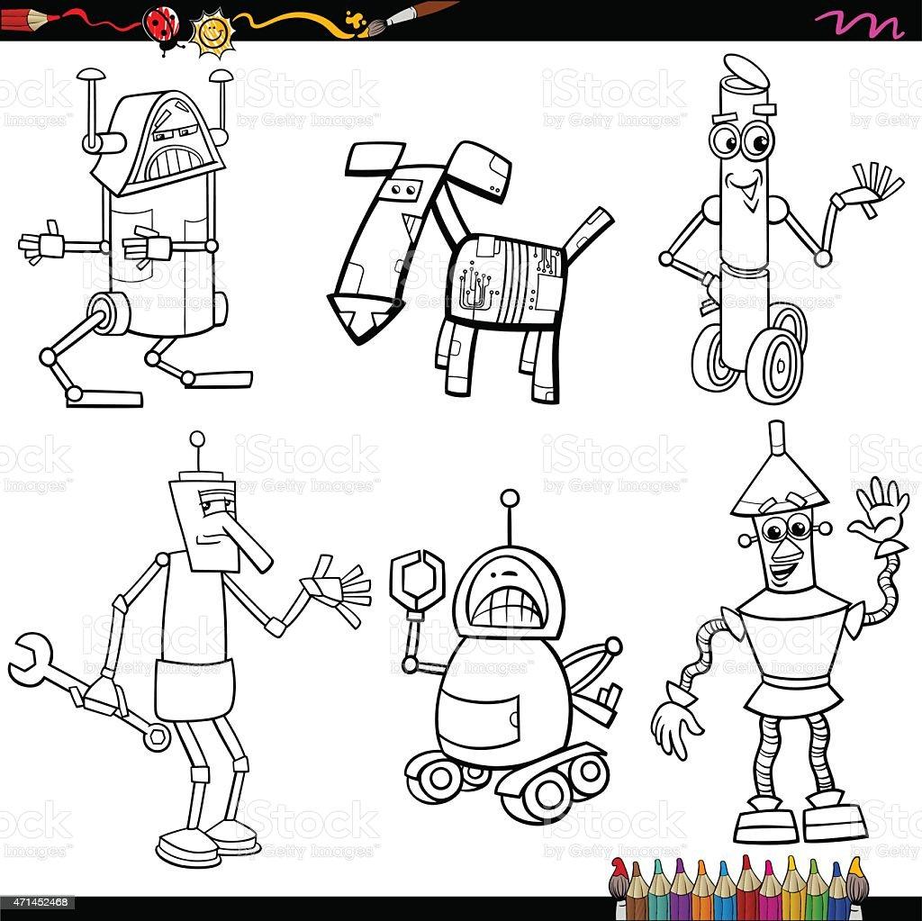 fantasy robots cartoons coloring page vector art illustration