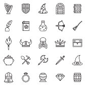 Fantasy Role Playing Games Thin Line Outline Icon Set