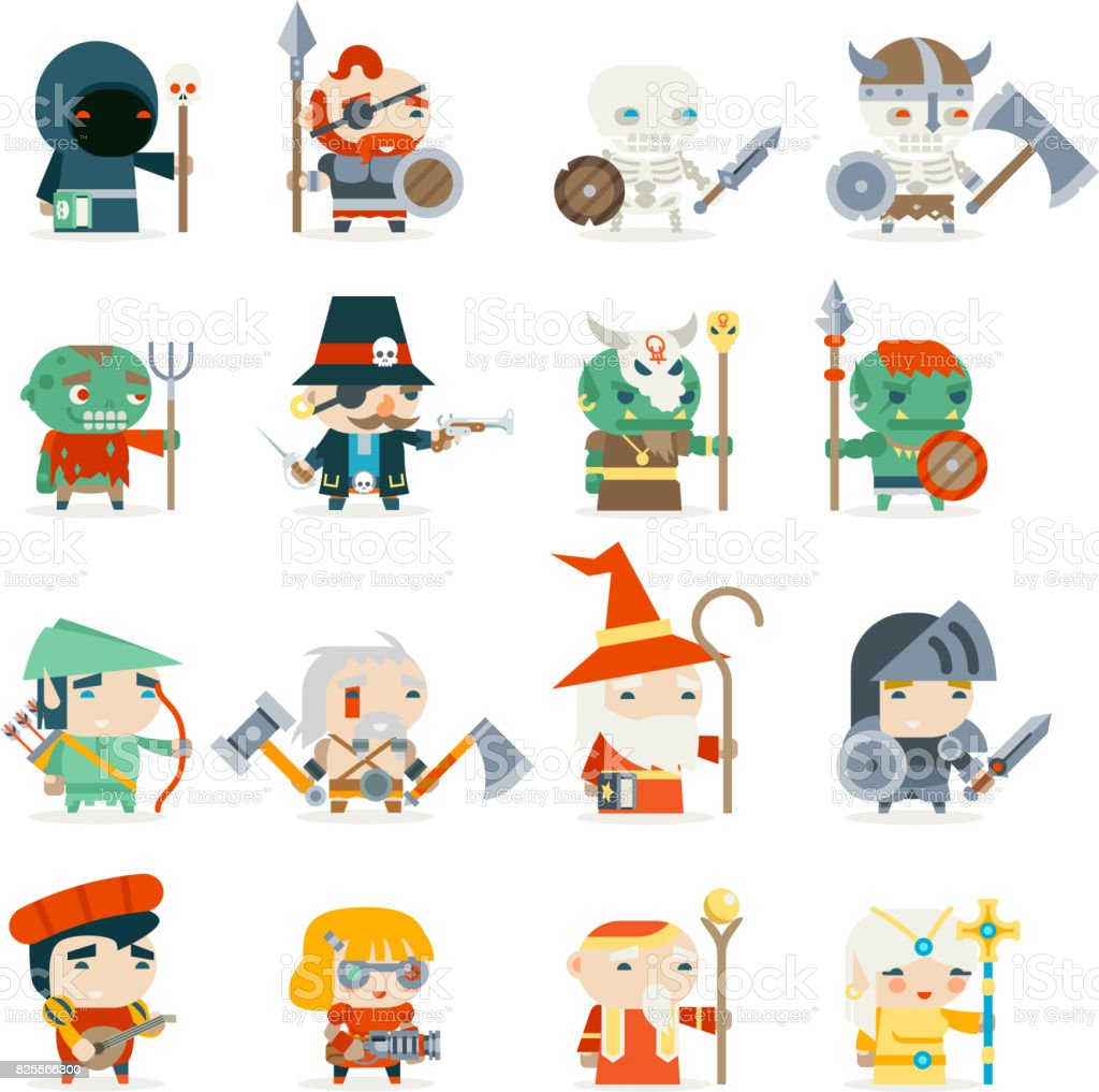Fantasy rpg game heroes villains minions character vector icons set fantasy rpg game heroes villains minions character vector icons set flat design vector illustration royalty stopboris Image collections
