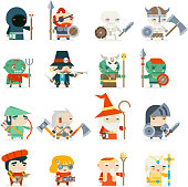 Fantasy RPG Game Heroes Villains Minions Character Vector Icons Set Flat Design Vector Illustration