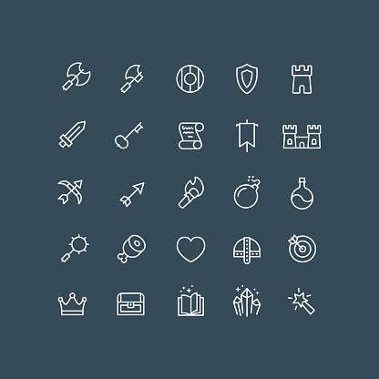 Fantasy RPG Icons Outline Editable Stroke