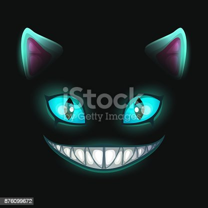 istock Fantasy scary smiling cat face on black background 876099672