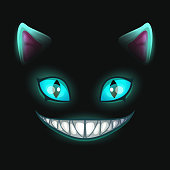 Fantasy scary smiling cat face on black background