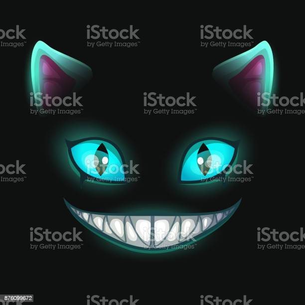 Fantasy scary smiling cat face on black background vector id876099672?b=1&k=6&m=876099672&s=612x612&h=eo0cpefij90rkokaryddwz4ipe0hv khcx0 wcgsneu=