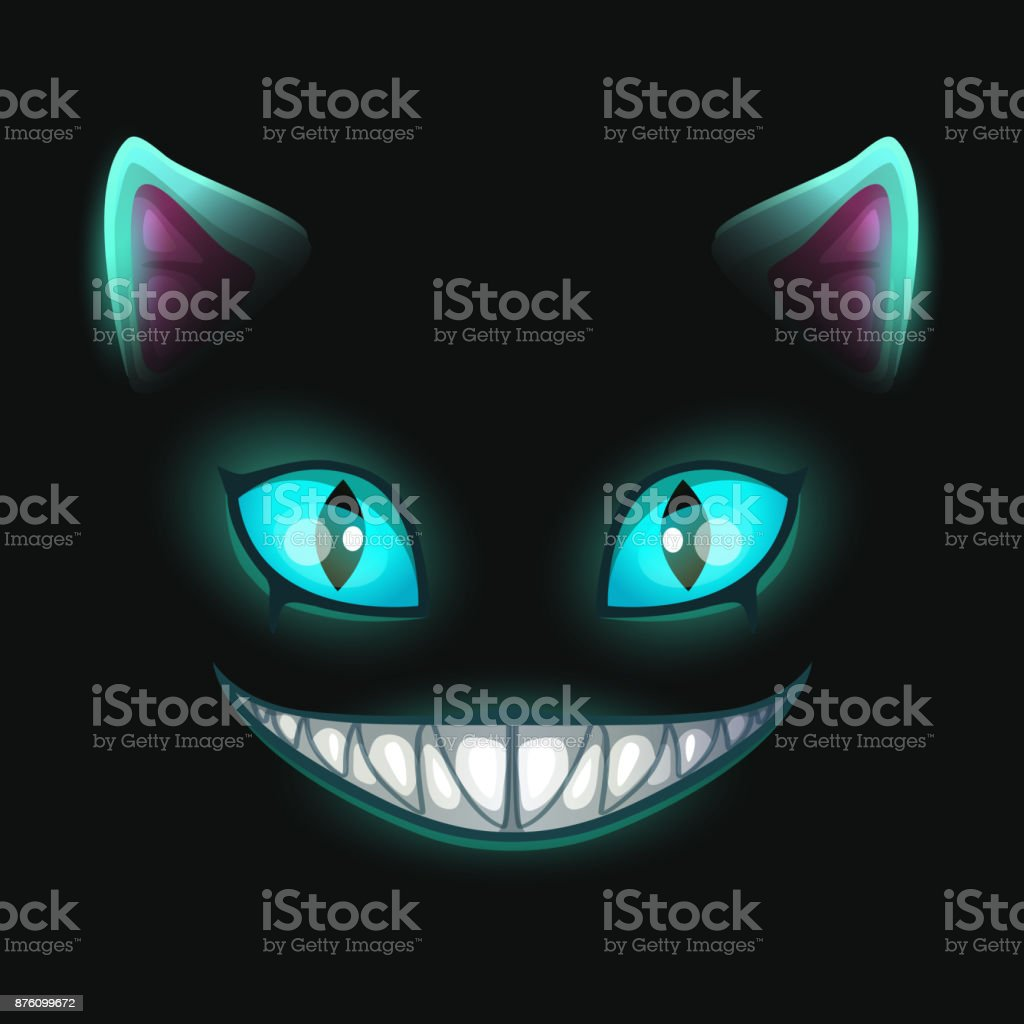 Cara gato sonriente tenebrosa fantasía sobre fondo negro - ilustración de arte vectorial