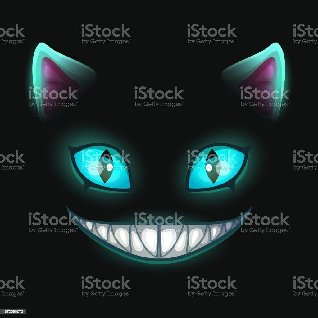 Fantasy scary smiling cat face on black background vector art illustration