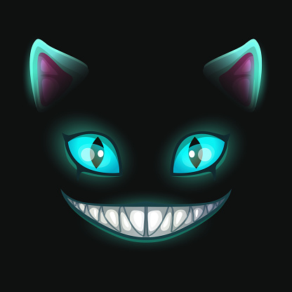 Fantasy Scary Smiling Cat Face On Black Background Stock Illustration Download Image Now Istock