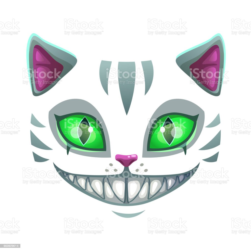 Fantasy Scary Smiling Cat Face Stock Illustration Download Image