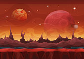 Vector illustration of a cartoon funny sci-fi alien planet landscape background, with layers for parallax including weird mountains range, stars and planets for ui game. File is EPS10 and uses multiply, overlay and screen transparency. Vector eps and high resolution jpeg files included