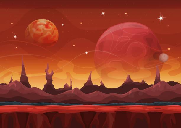 fantasy sci-fi marsmensch hintergrund für ui-spiel - landscape crazy stock-grafiken, -clipart, -cartoons und -symbole
